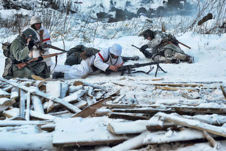 Reconstruction of a major military operation of the Leningrad Front - The January Thunder,  lifting of the blockade of Leningrad. Stock Photo - 14136753