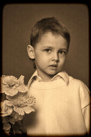 Little Boy with flowers photo