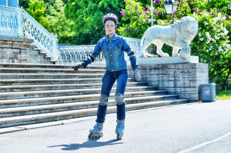 girl skating on roller skates  photo