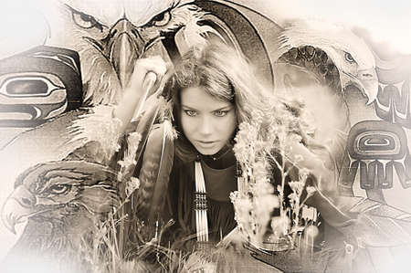 The girl in a suit of the American Indian  Photo executed in a retro style photo