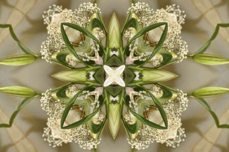 Folklore green and yellow kaleidoscope background  photo