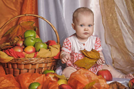 small child with a basket of apples Stock Photo - 14107906