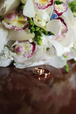 bouquet of orchids, and wedding rings Stock Photo - 14165653