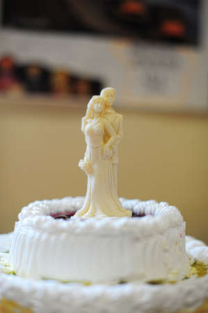 figurines of the bride and groom on the cake Stock Photo