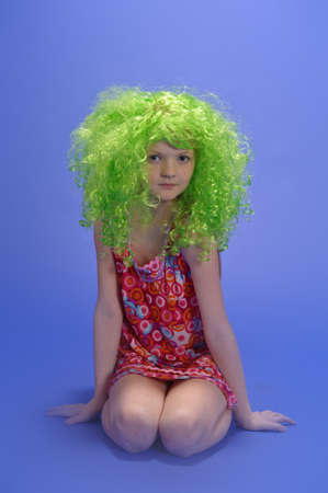girl in a green wig photo