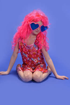 ugly girl: girl in a pink wig