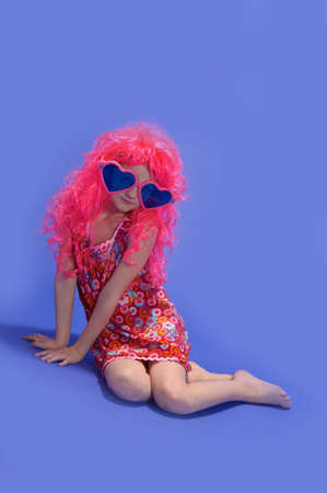 girl in a pink wig