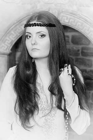 Hippie style portrait of beautiful girl photo