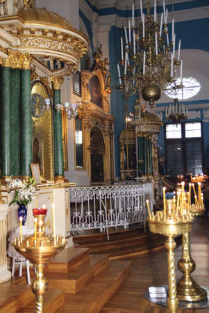 Chandelier and mosaics in orthodox church
