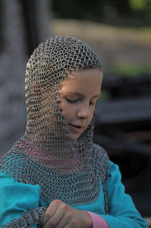girl and medieval armor  photo