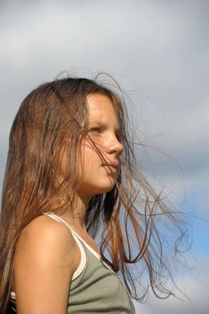 The girl the teenager with long beautiful hair  Stock Photo