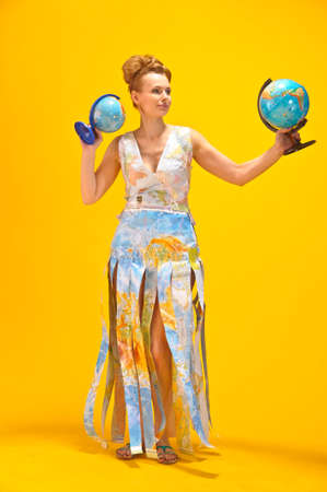 jetset: Young blonde woman with globe