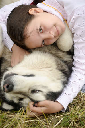 girl with a husky photo