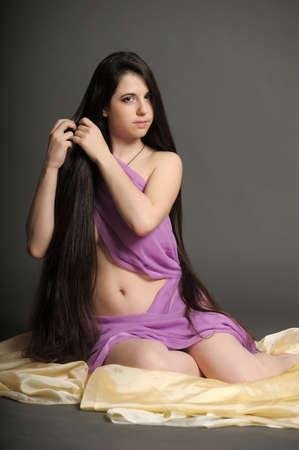 young woman luxurious long hair Stock Photo - 18184160