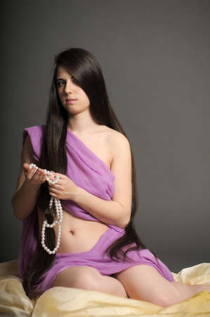 young woman luxurious long hair photo