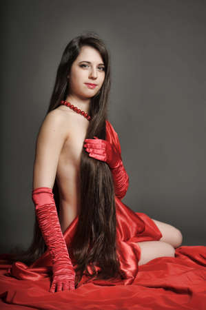 young woman luxurious long hair Stock Photo - 18184122