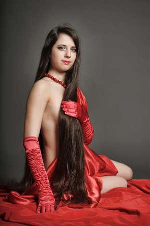 young woman luxurious long hair Stock Photo - 18184122