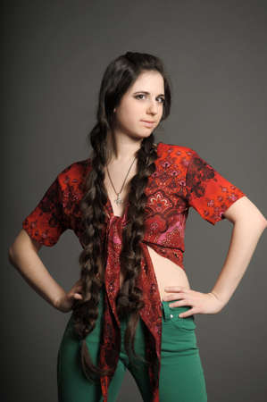 girl with very long braids photo