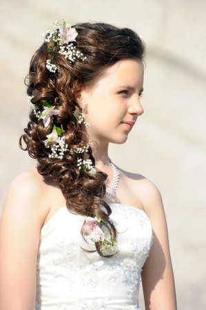 hairdo: ragazza con una acconciatura da sposa Archivio Fotografico