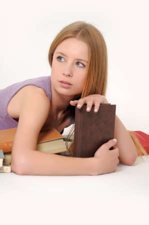 Young student girl with book Stock Photo - 14321375