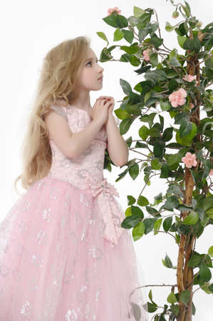 con un vestido rosa con rosas photo