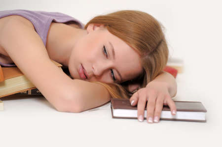 Girl sleeping with book Stock Photo - 15374702