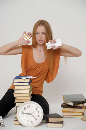 unifrom: student with books and tablets in stress