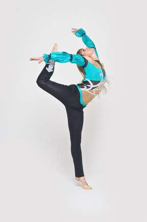 control of body movement: girl gymnast