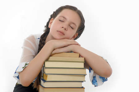 only teenage girls: the student fell asleep preparing for examinations