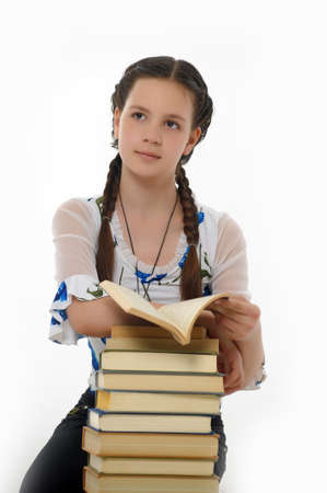 College student girl with books Stock Photo - 14494723