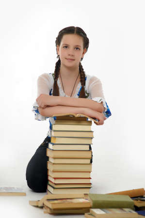 College student girl with books Stock Photo - 14494714