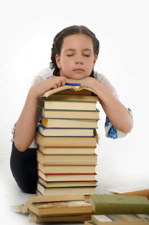College student girl with books Stock Photo - 14494725