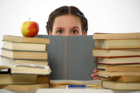 College student girl with books Stock Photo - 14494730