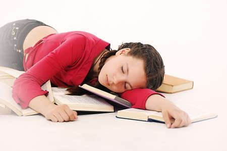 the student fell asleep preparing for examinations photo