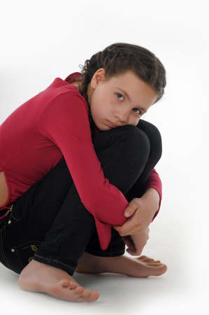 headaches: the girl teenager in the depression Stock Photo