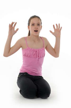 hand chin: girl teenager upset
