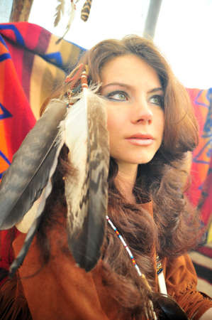 regalia: The girl in a suit of the American Indian  Stock Photo
