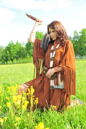 The girl in a suit of the American Indian  photo