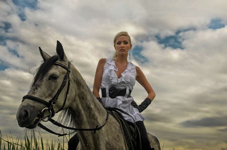 up country: Girl with a horse