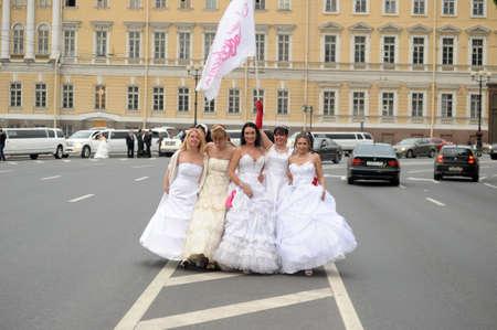 Action Runaway Bride Cosmopolitan 2012, Russia, St. Petersburg  Stock Photo - 15620720
