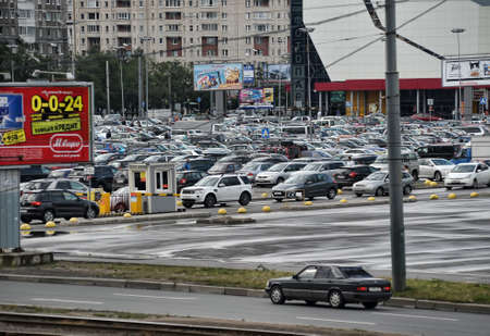 parking in front of the hypermarket, Russia, St. Petersburg