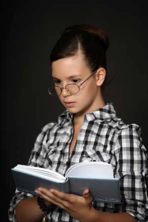 Woman with open book photo