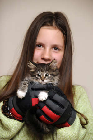 Teen girl with a kitty photo