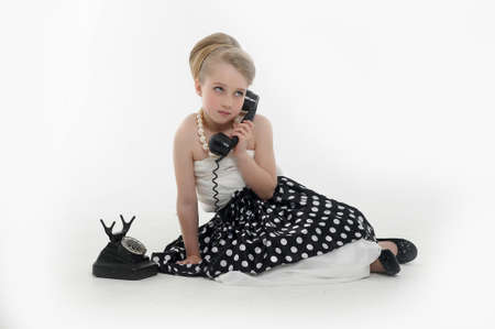 girl talking on retro phone Stock Photo - 15975911
