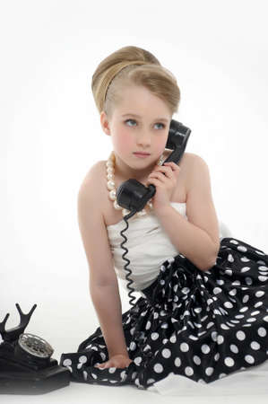 girl talking on retro phone Stock Photo - 15975924