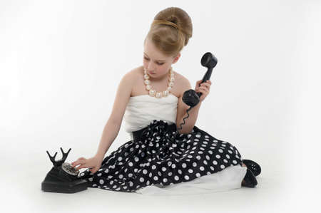 girl talking on retro phone Stock Photo - 15975918