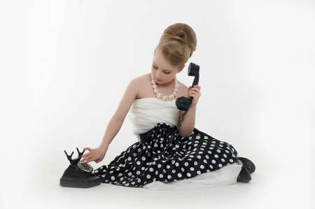girl talking on retro phone Stock Photo - 15975914