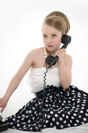 girl talking on retro phone Stock Photo - 15975925