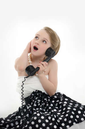 girl talking on retro phone Stock Photo - 15975921