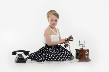 girl talking on retro phone Stock Photo - 15975910
